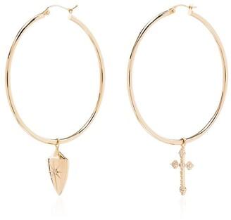 Dru 14kt gold shield and cross hoop earrings