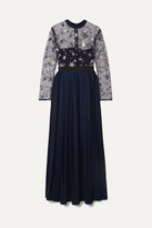 Self-Portrait - Embellished Tulle And Pleated Crepe De Chine Maxi Dress - Navy
