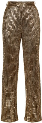 Traffic People Macarthur Park Straight Leg Sequin Trousers In Bronze