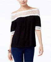 INC International Concepts Crochet-Trim Off-The-Shoulder Top, Only at Macy's