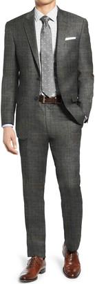 Hart Schaffner Marx Grey Sharkskin Two Button Notch Lapel New York Fit Suit