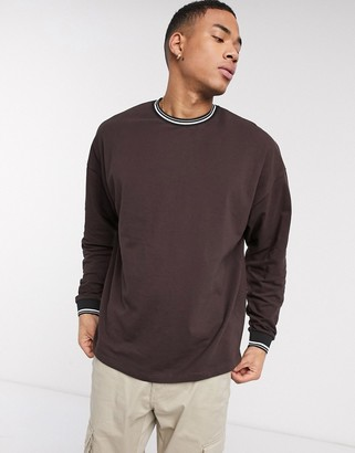 ASOS DESIGN oversized long sleeve t-shirt in pique with contrast tipping in brown