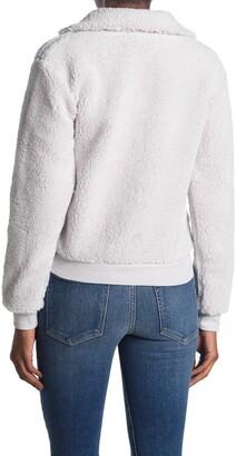 Topshop Faux Fur Quarter Zip Funnel Neck Sweater
