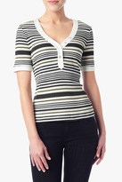 7 For All Mankind Multi Striped Henley In Olive/Ink