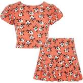 River Island Girls orange floral crop top and skort outfit