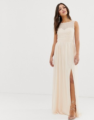 Little Mistress high split sleeveless maxi dress-Cream