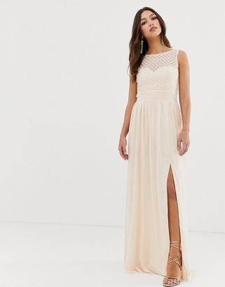 Little Mistress high split sleeveless maxi dress