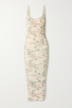 Paco Rabanne Ribbed Printed Cotton Midi Dress - Ivory