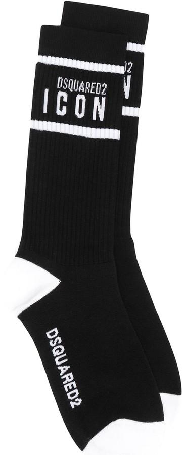 Black//white DSquared2 ICON Logo Men/'s Sports Socks