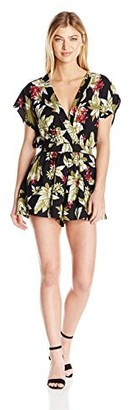 MinkPink Women's Panama Printed V Neck Playsuit