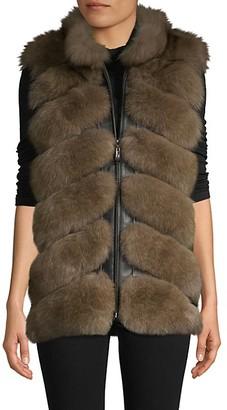 Belle Fare Chevron Dyed Fox Fur Leather Vest