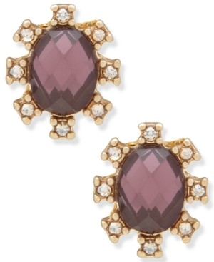 lonna & lilly Gold-Tone Crystal & Stone Oval Stud Earrings