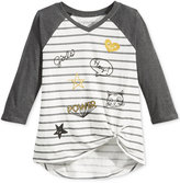 Hybrid Striped Doodle T-Shirt, Big Girls (7-16)