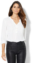 New York & Co. Lace-Up Shirt - White