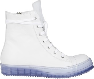 Rick Owens White Leather Performa Sneakers