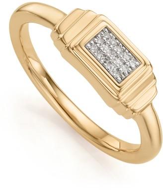 Monica Vinader 18K Gold Vermeil Baja Deco Diamond Ring - 0.04 ctw