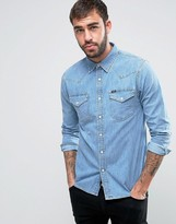 Lee Denim Western Slim Fit Shirt Stone Bleach Wash