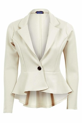 Branded New Ladies Long Sleeve Frill Shift Fitted Low Back Blazer Women's Jacket[Ivory 10]