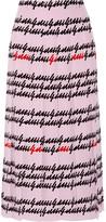 Gucci Pleated Printed Silk Midi Skirt - Baby pink