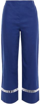 STAUD Lattice-trimmed Linen-blend Straight-leg Pants