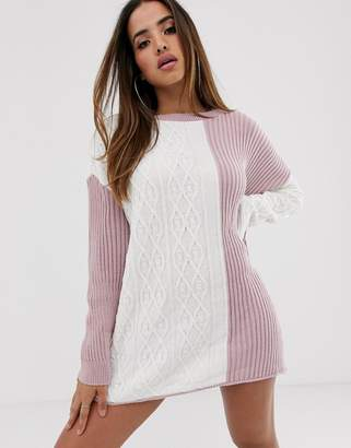 In The Style Contrast Oversized Jumper Dress-Pink