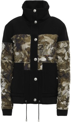 Versace Paneled Quilted Printed Shell And Crepe Down Jacket