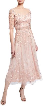 Theia Elbow-Sleeve Teardrop Illusion Midi Dress