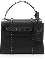 Valentino 'My Rockstud - Rolling Noir' Calfskin Leather Satchel