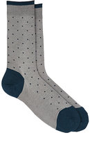 Barneys New York Men's Dotted Cotton-Blend Mid-Calf Socks