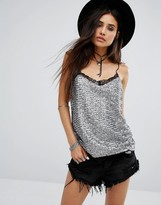 Motel Sequin Cami Senjo Top With Lace Trim