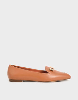 Charles & Keith Metal Bow Pointed Loafers