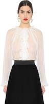 Dolce & Gabbana Ruffled Sheer Silk Chiffon Shirt