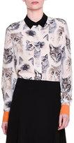 Stella McCartney Long-Sleeve Cat-Print Silk Blouse, White/Black