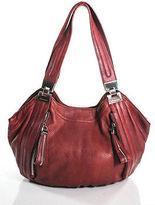 B. Makowsky Brick Red Leather Top Stitched Silver Detail Shoulder Handbag Medium