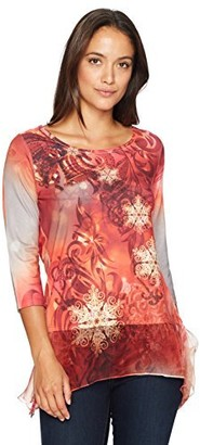 One World ONEWORLD Women's Petite 3/4 Sleeve Holiday Printed Top with Chiffon Hem
