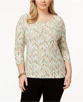 JM Collection Plus Size Jacquard Printed Top, Created for Macy's