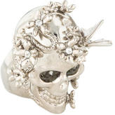 Alexander McQueen Crystal Skull and Butterfly Ring