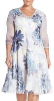 Komarov Plus Size Women's V-Neck Floral Chiffon & Charmeuse A-Line Dress