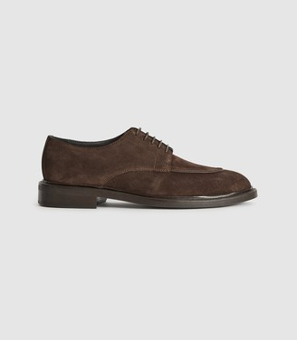 Reiss Jase - Suede Lace Up Shoes in Dark Brown