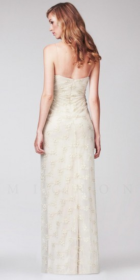 Mignon Beaded Floral Lace Ruched Long Evening Dresses
