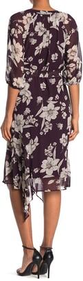 Gabby Skye Floral 3/4 Sleeve Faux Wrap Midi Dress