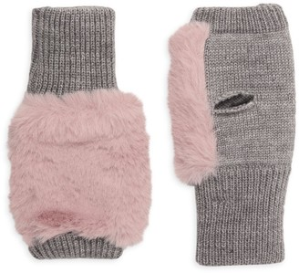 Jocelyn Mercury Faux Fur Wool-Blend Fingerless Mittens