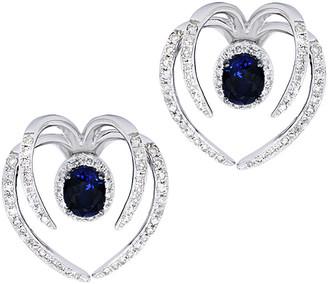 Diana M Fine Jewelry 14K 1.48 Ct. Tw. Diamond & Sapphire Ear Jackets
