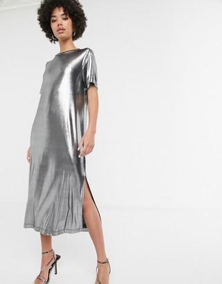Monki foil midi t-shirt dress with side split in silver