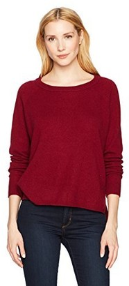 Minnie Rose Women's 100% Cashmere Raglan Hi Lo Sweater