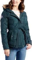 U.S. Polo Assn. Deep Teal Quilted Faux Fur Hood Belted Jacket