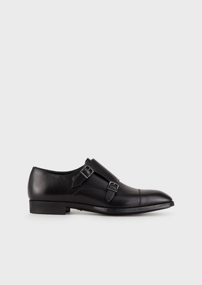 Giorgio Armani Monk Straps In Smooth Calfskin With Toe Cap Stitching