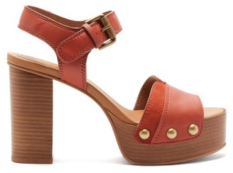 See by Chloe Studded Suede-trim Leather Platform Sandals - Womens - Orange