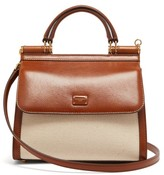Dolce & Gabbana Sicily 58 Small Leather And Canvas Bag - Womens - Beige Multi