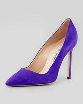 Manolo Blahnik BB Suede Pointed-Toe Pump, Purple